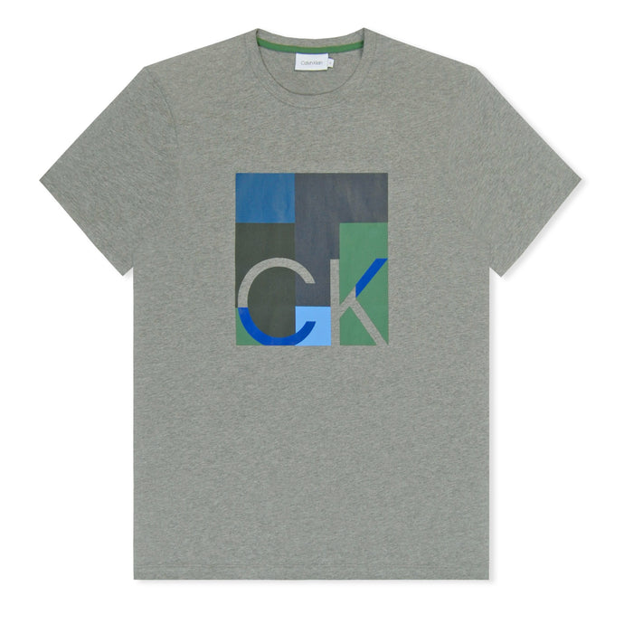 Grey Calvin Klein Logo Graphic T-Shirt Heather