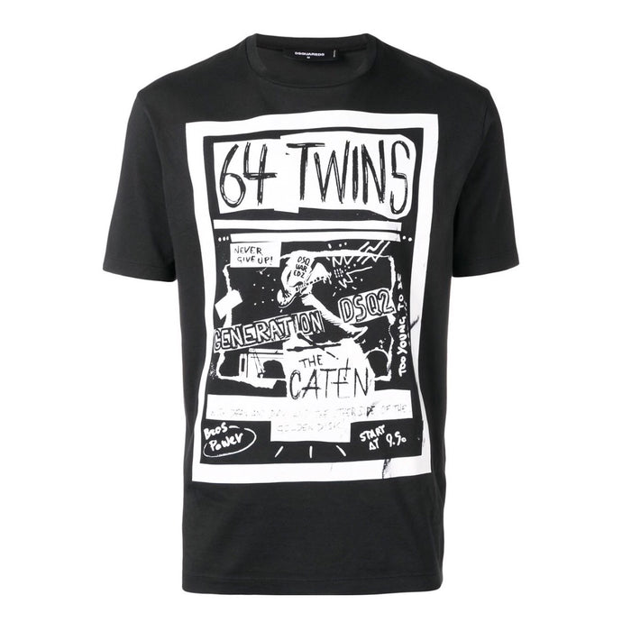 Dsqaured2 64 Twins Black Printed T-Shirt