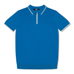 Royal Blue Karl Lagerfeld Contrast Zip Knitted Polo