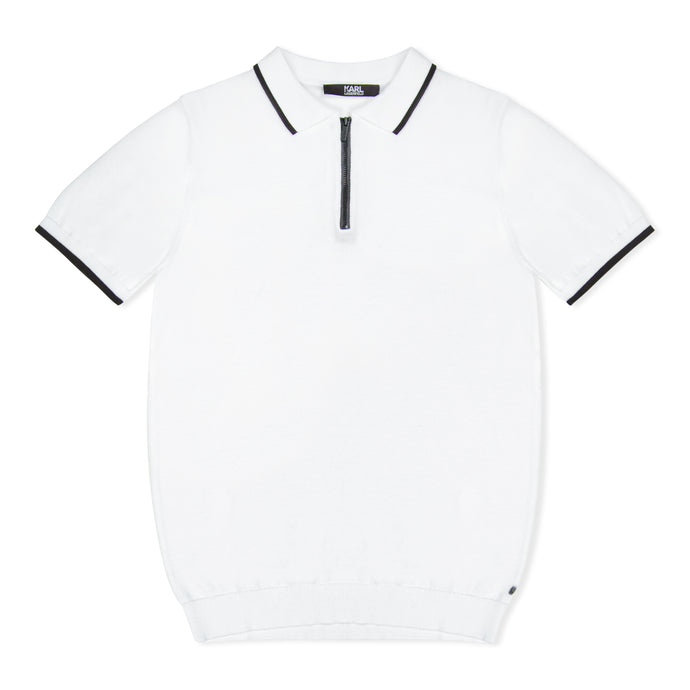 White Karl Lagerfeld Contrast Zip Knitted Polo