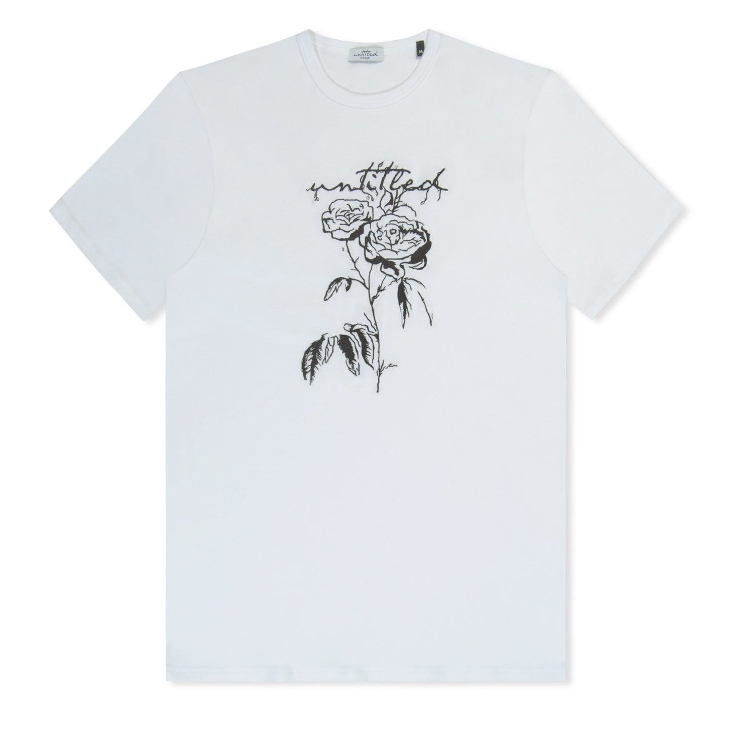 White Untitled Atelier Embroidered Rose T-Shirt