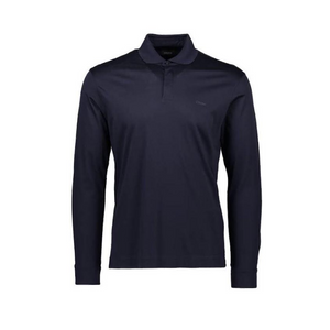 Navy Z Zegna Mercerised Long Sleeved Polo