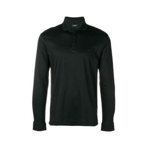 Black Z Zegna Mercerized Long Sleeved Polo