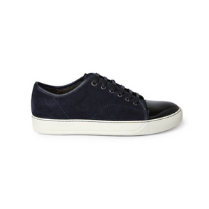 Dark Blue Lanvin Patent Cap Toe Trainers