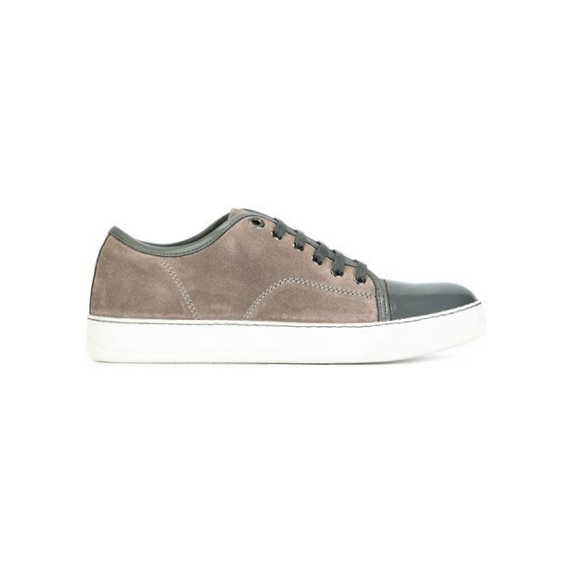 Grey Lanvin Patent Cap Toe Trainer
