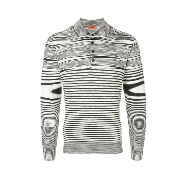 Black/White Missoni Knitted Long Sleeve Polo