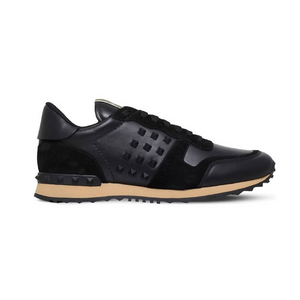 Black Valentino Rockstud Leather/Suede Trainers