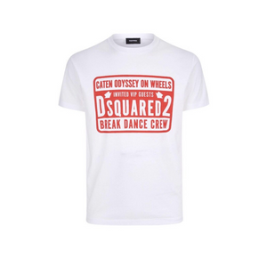 White Dsquared2 Break Dance Crew T-Shirt