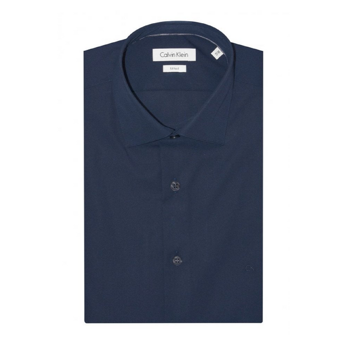 Midnight Blue Cannes Fitted Long Sleeve Shirt