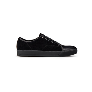 Black Lanvin Suede/Leather Cap Toe Trainers