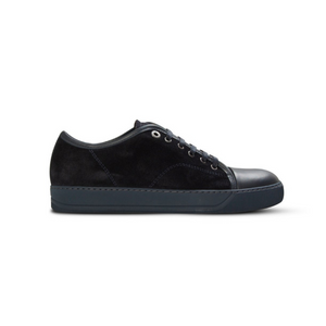 Navy Lanvin Suede/Leather Cap Toe Trainers