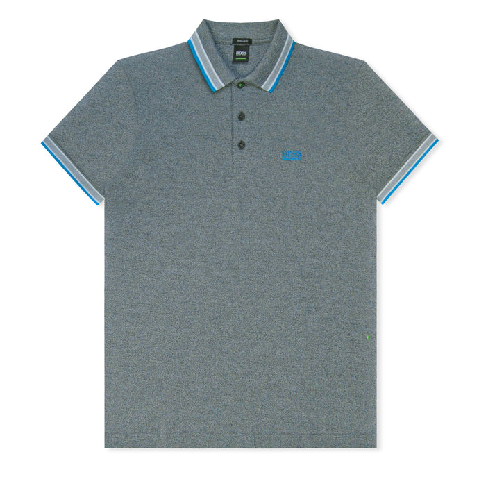 Charcoal/Blue Stripe Collar Pique Polo