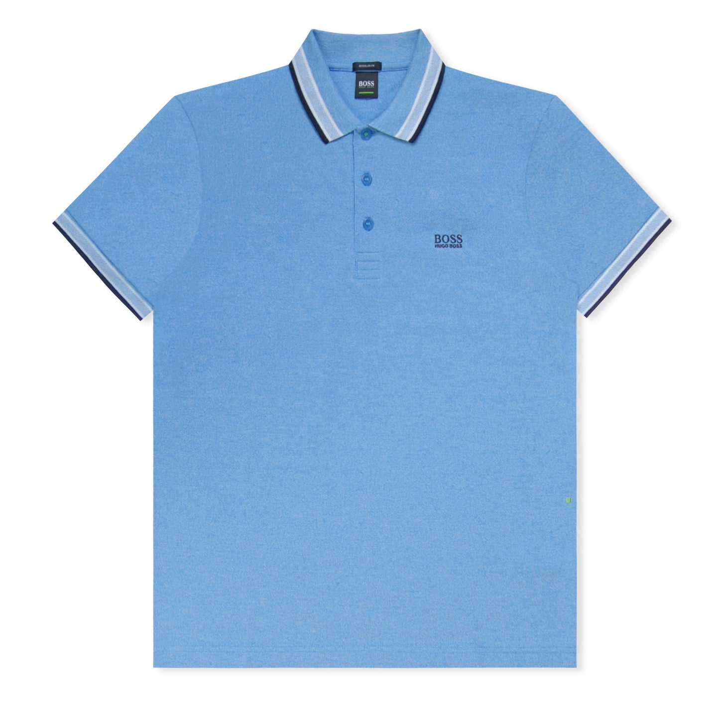 Blue/White Stripe Collar Pique Polo