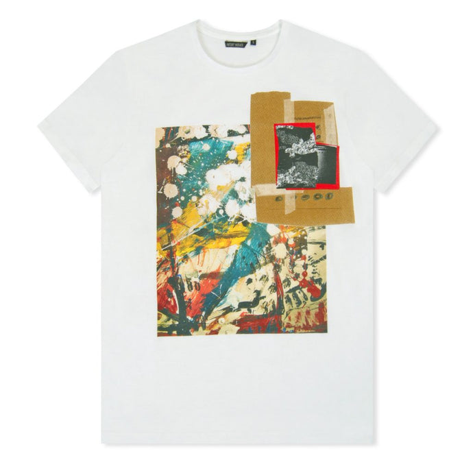 White Painted Collage Print T-Shirt
