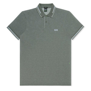 Grey/White Stripe Contrast Cotton Polo