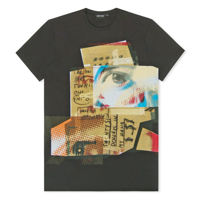 Black Pixilated Eye Print T-Shirt