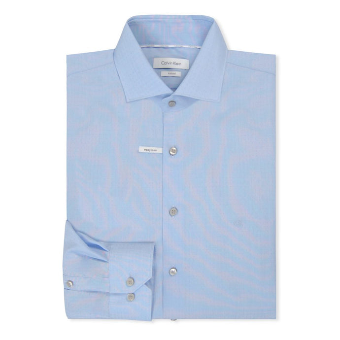 Light Blue Pattern Fitted Shirt
