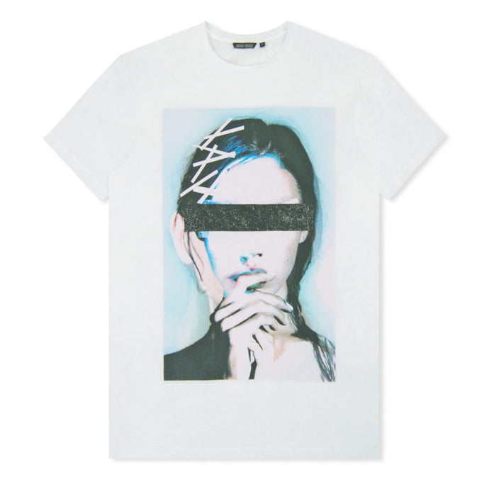White Sci-Fi Face Print T-Shirt