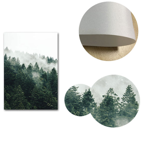 Foggy Forest in Mountains Landscape Canvas Posters
