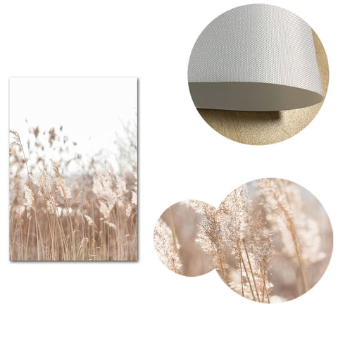 Reeds Grass and Mushrooms Canvas Wall Art