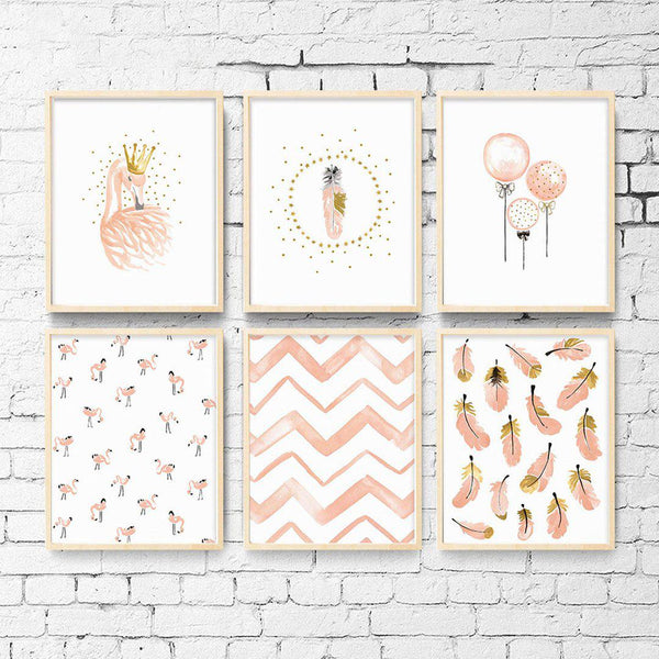 Pink Flamingo and Feathers Wall Art