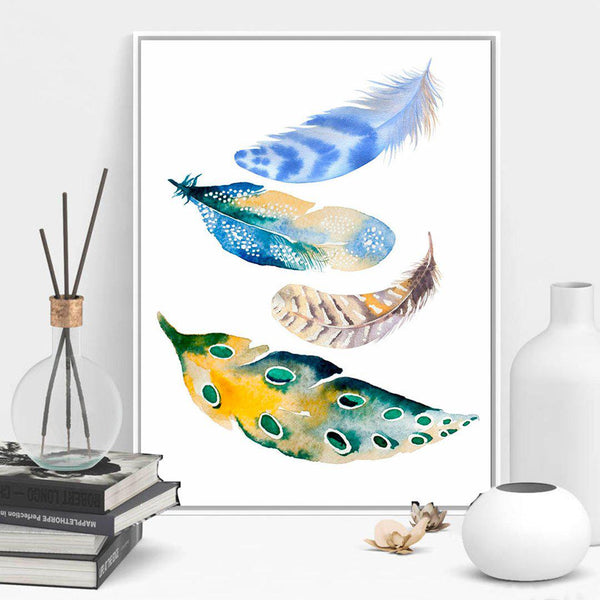 Watercolor Feathers Modern Canvas Posters