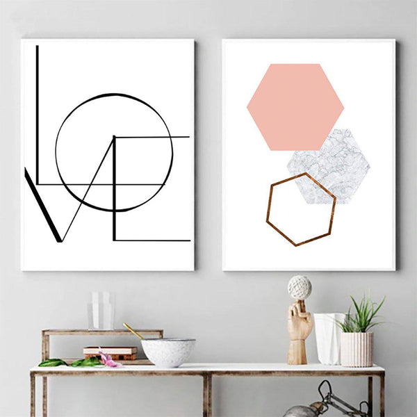LOVE Geometry Canvas Posters