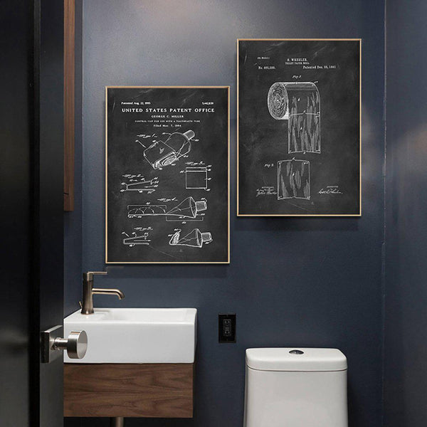 Bathroom Patents Canvas Wall Art