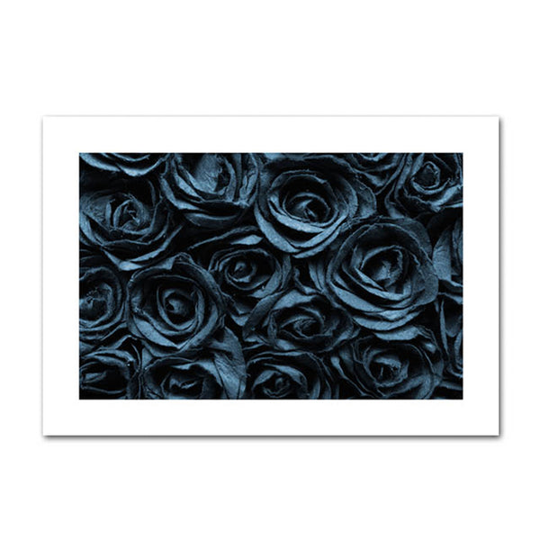 Blue Roses and Leafs Canvas Wall Art