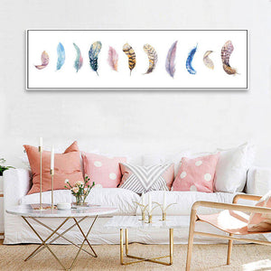 Colorful Feathers Wall Art
