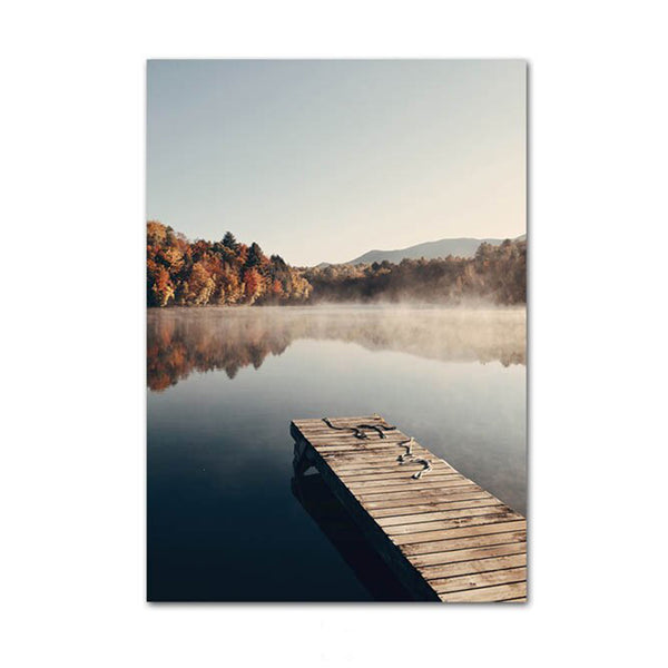 Foggy Autumn Forest Lake Canvas Wall Art