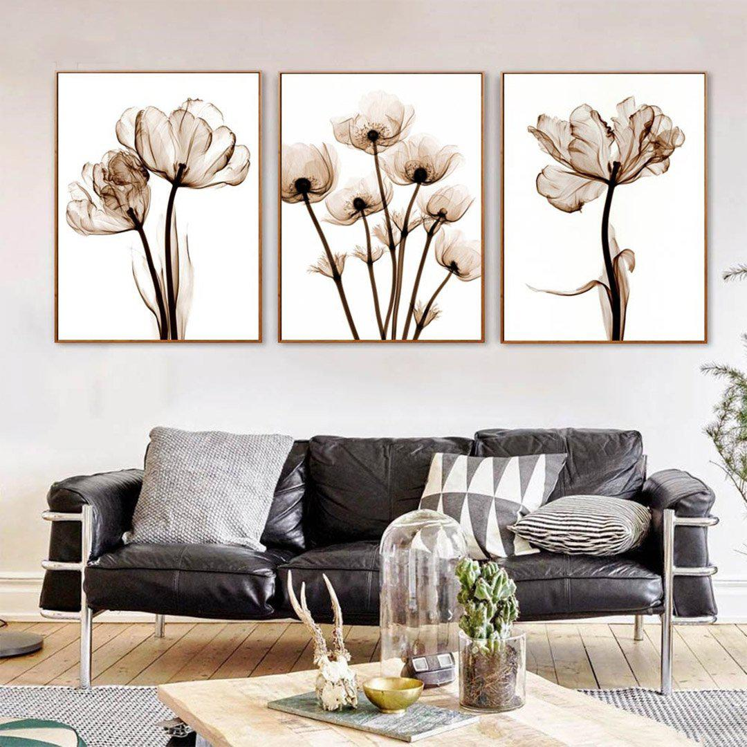 Abstract Diagonal Flower Wall Poster Prints Floral Pictures Landscape