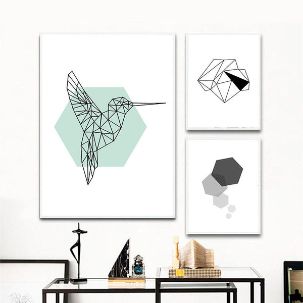 Geometric Bird Canvas Posters