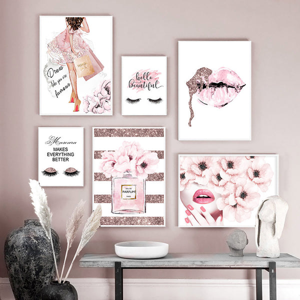 Pink Flower Lips Perfume Canvas Wall Art