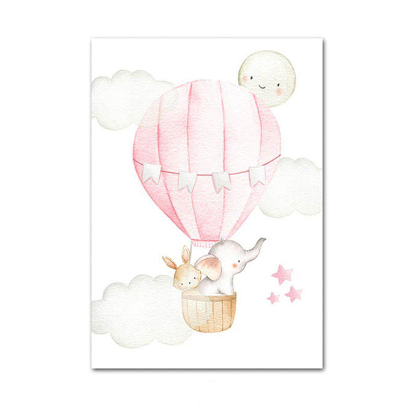 Pink Hot Air Balloon Canvas Posters