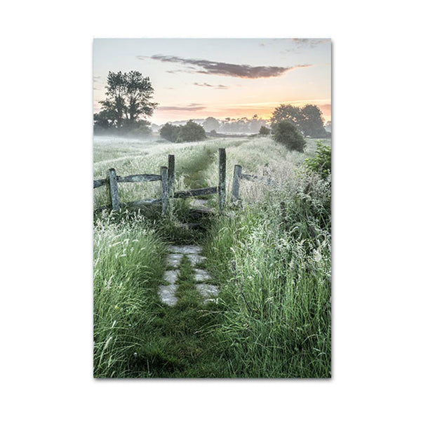 Sunrise Forest and Field Canvas Posters