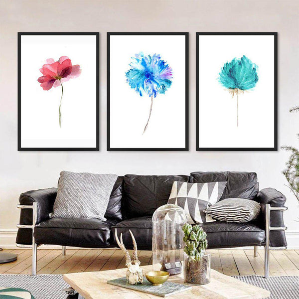 Watercolor Abstract Flowers Canvas Wall Art