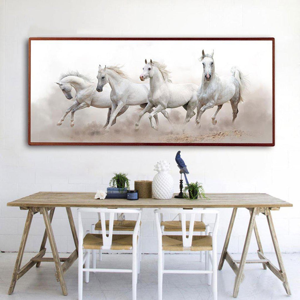 White Horses Canvas Wall Art