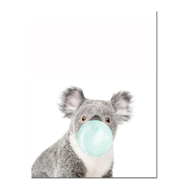 Cute Animals with Gum Nursery Wall Art Canvas Posters