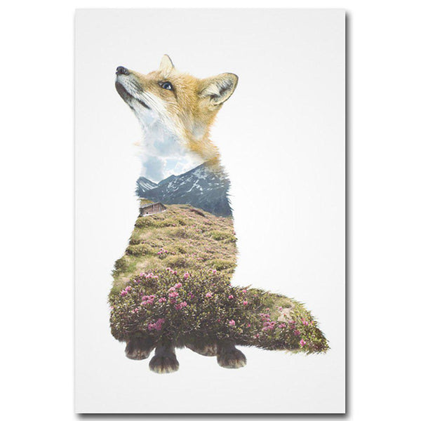 Landscape Silhouette Animals Wall Art Canvas Posters