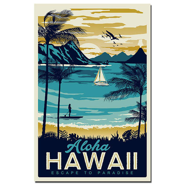 Aruba Hawaii Sea Beach Vintage Canvas Posters