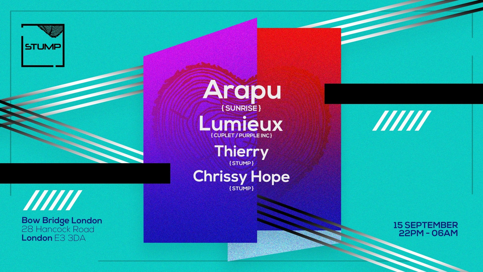 Tickets for 15-09-2017 Stump. with Arapu,Lumieux,Thierry,Chrissy Hope
