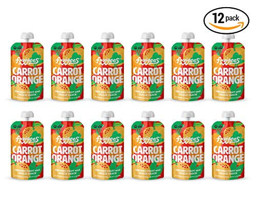Fruigees Fruit Squeeze Snack Pouches (Carrot Orange, 12 Count) | Made from Organic Fruit & Veggies | Organic Non-GMO Kosher Vegan Gluten Free | Delicious & Healthy Snack for Kids & Adults