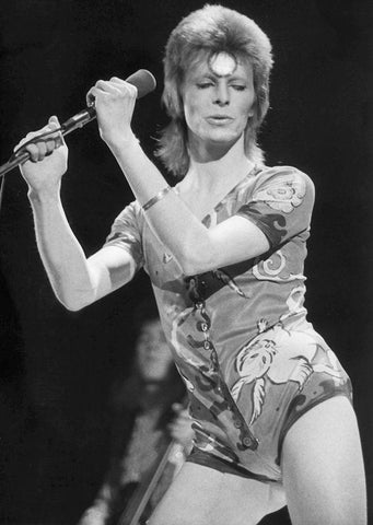 Ultimate festival clothing style by David Bowie at Glastonbury Festival, 1971