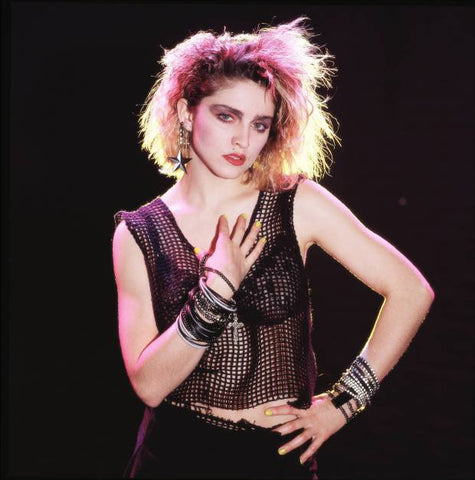 Madonna showing off the 1980s new wave style at a concert