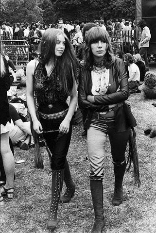 Hippie festival clothng styles at Woodstock, 1969