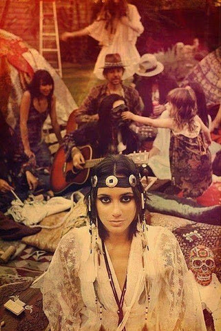 Shanti hippie clothing style with head peice at Woodstock, 1969