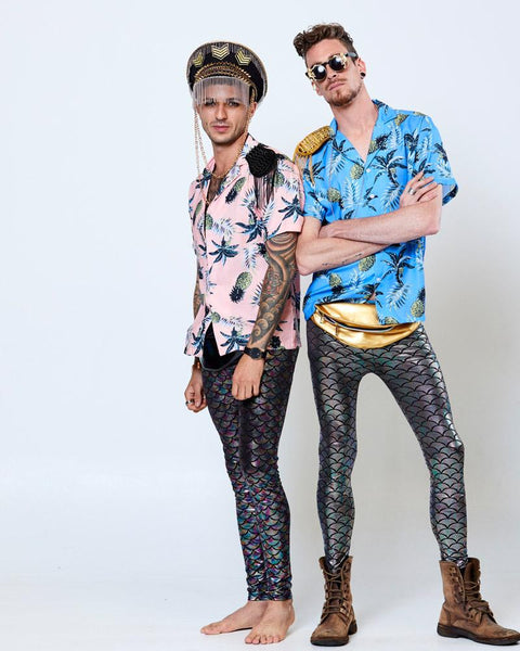 Two male models pose in Hawaiian style shirts and psychedelic print leggings