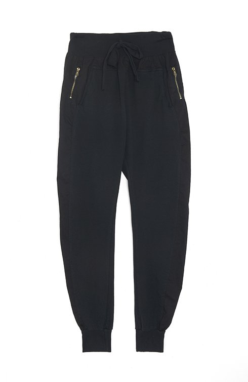 Zipped Joggers in Black