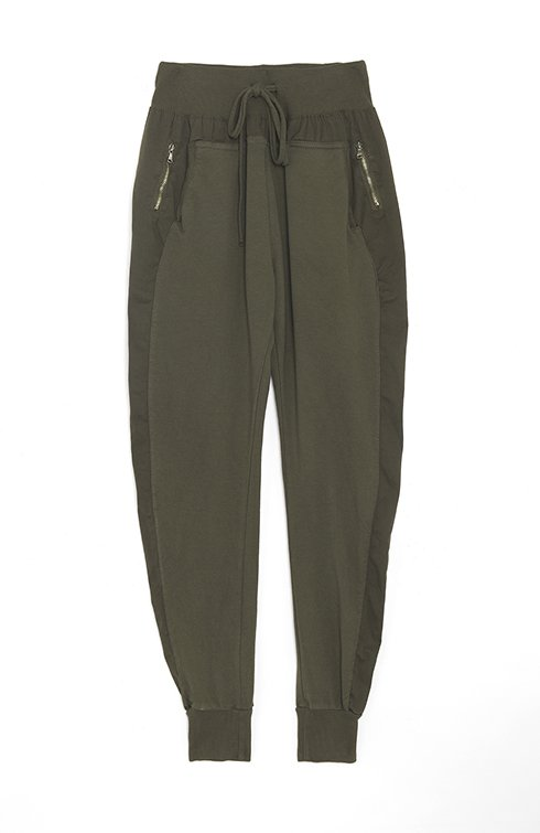 Zipped Joggers in Army